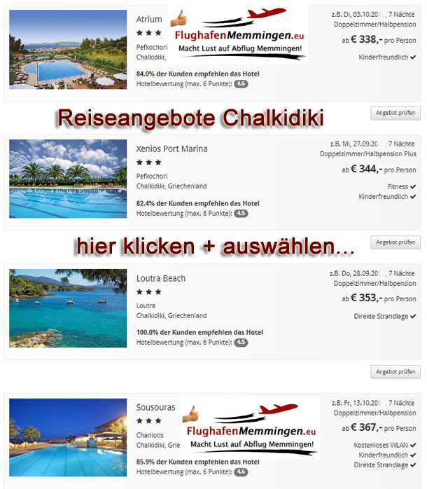 Reiseangebote chalkidiki ab Memmingen