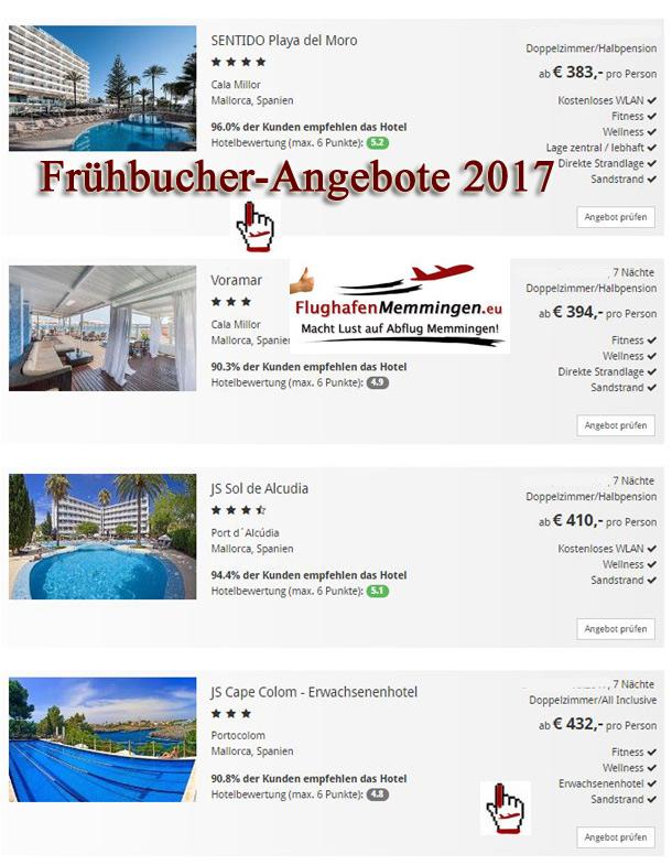 Angebote Frühbucher 2017 ab Memmingen