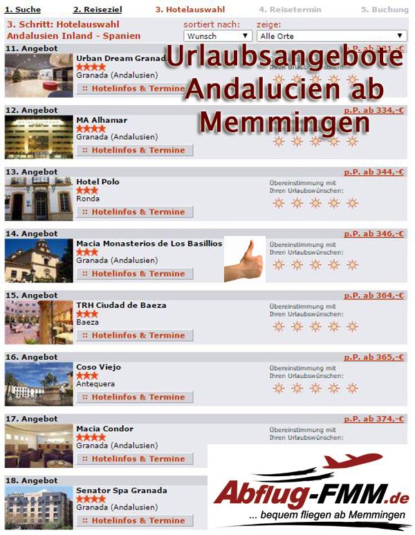 Urlaubsangebote Andalucien ab Memmingen