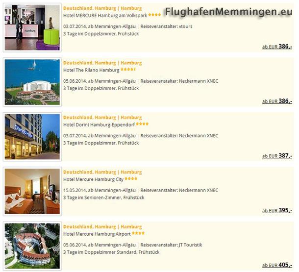 Reiseangebote Hamburg ab Flughafen Memmingen