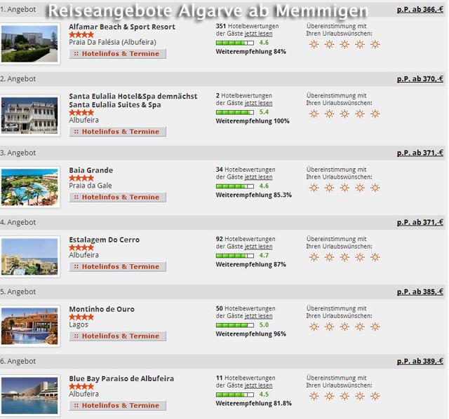 Gute Reiseangebote nach Portugal Faro Abflug Memmingen