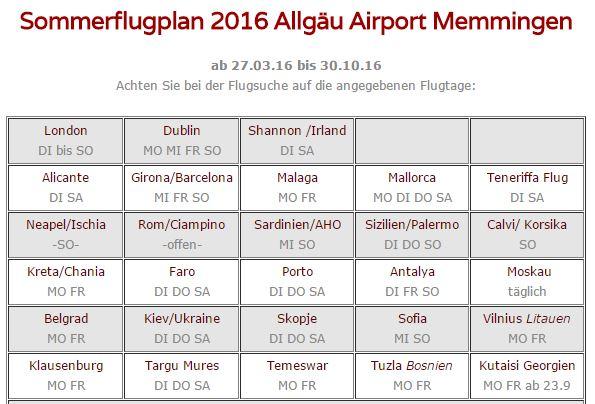 Sommerflugplan 2016 am Memminger Flughafen