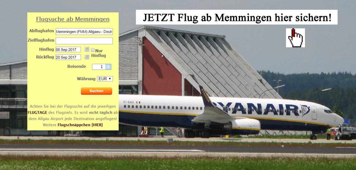 Flug Ryanair ab Memmingen Flughafen buchen