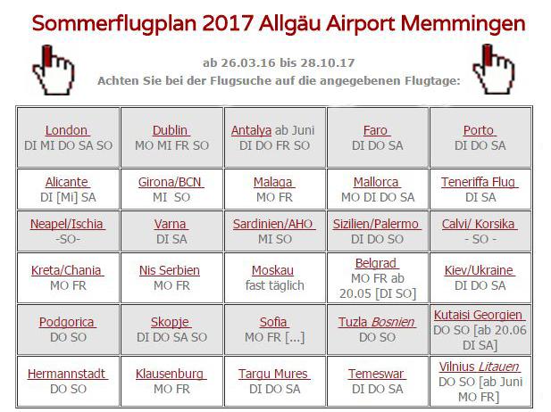Sommerflugplan 2017 am Memminger Flughafen