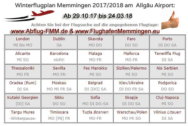 Winterflugplan 2017-18 am Memminger Flughafen