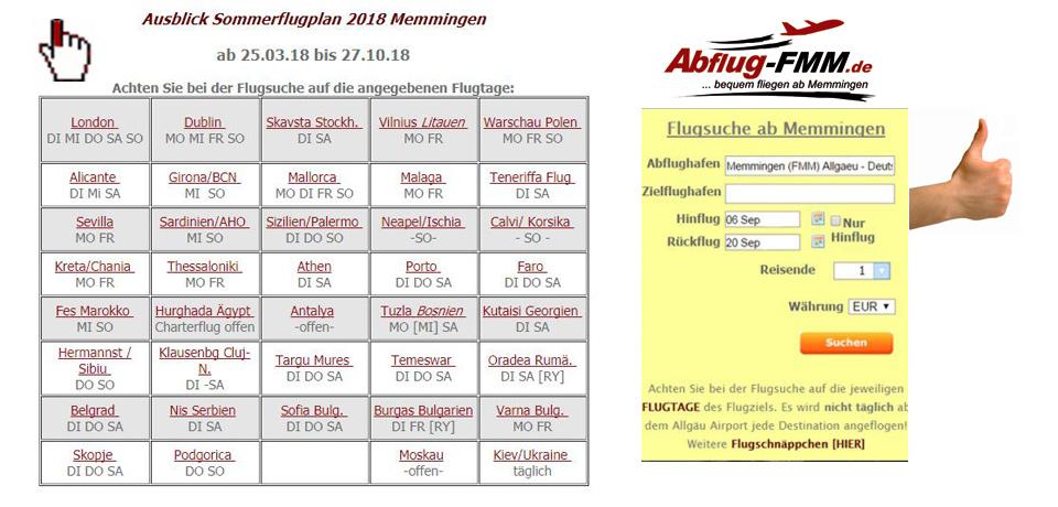 Sommerflugplan 2018 Memmingen