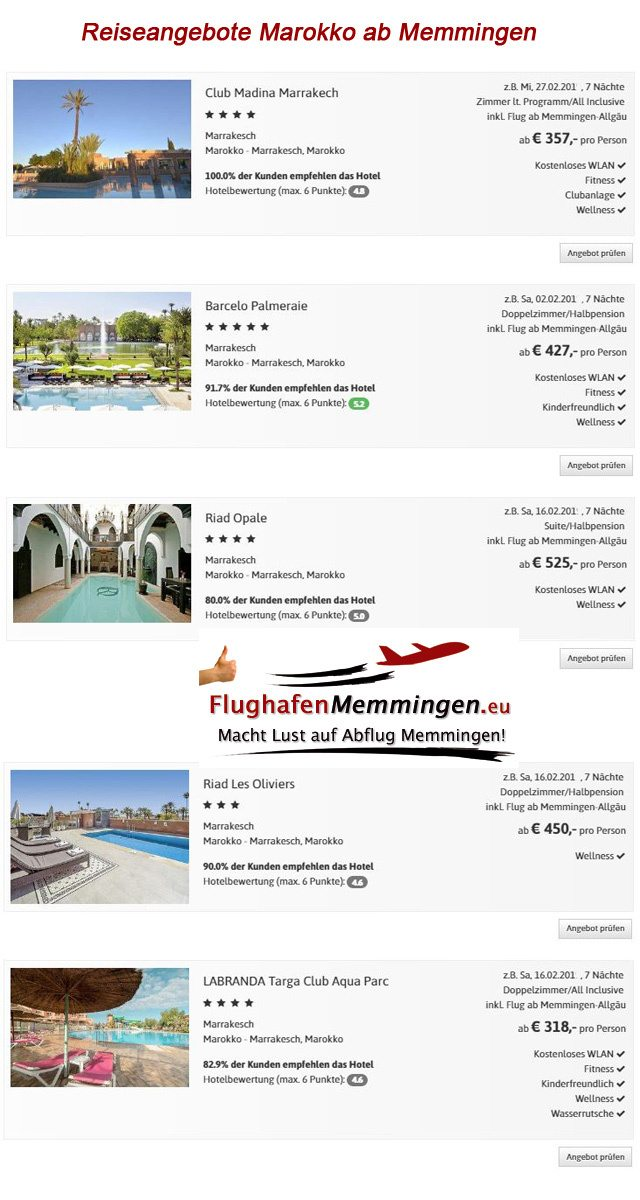 Reiseangebote Marokko ab Memmingen